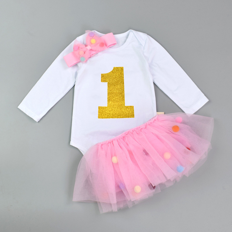 Newborn Baby Girl clothes Fashion ball Party baby Clothing Sets 1st Birthday Outfits Suits Baby Christening Gift 0-18month