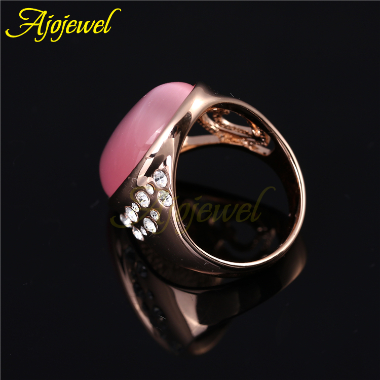 Ajojewel Brand Luxury Hollow Out Heart Big Pink Opal Rings For Women in Rings from Jewelry Accessories