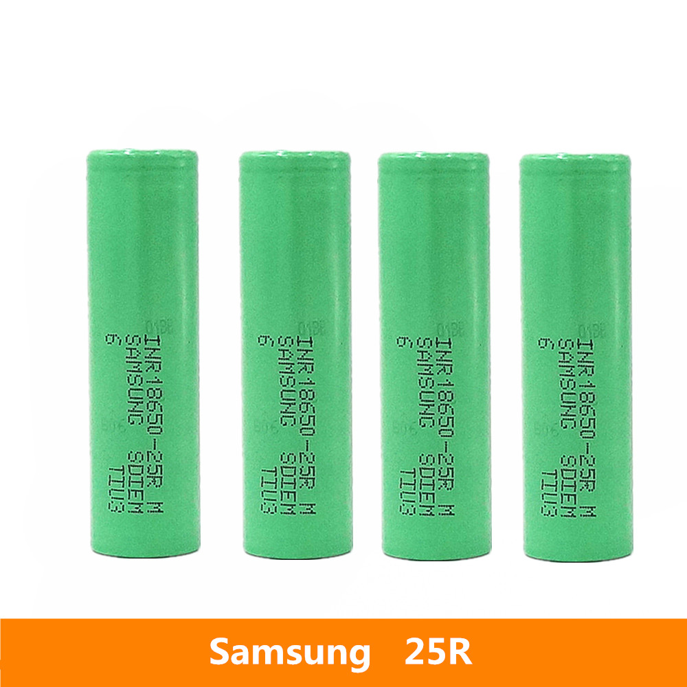 4pcs <font><b>3.7V</b></font> 18650 <font><b>2500mah</b></font> 20A discharge For Samsung INR18650-25R li-ion power cell IMR <font><b>battery</b></font> for Toy E-cig Torch Flashlight ect image
