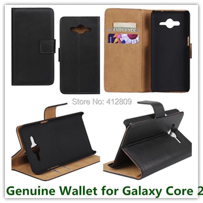 cdf58a4000b 1 unids envío negro Cuero auténtico slot stand bolsa Tapas funda para Samsung  Galaxy Core 2 g355h Tarjeta de Identificación titular teléfono Bolsas