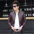 Men Solid Stand Collar Slim Leather jacket   Faux Fur Coats Trend Slim Fit Youth Motorcycle Suede Jacket Male Chaqueta de la mot