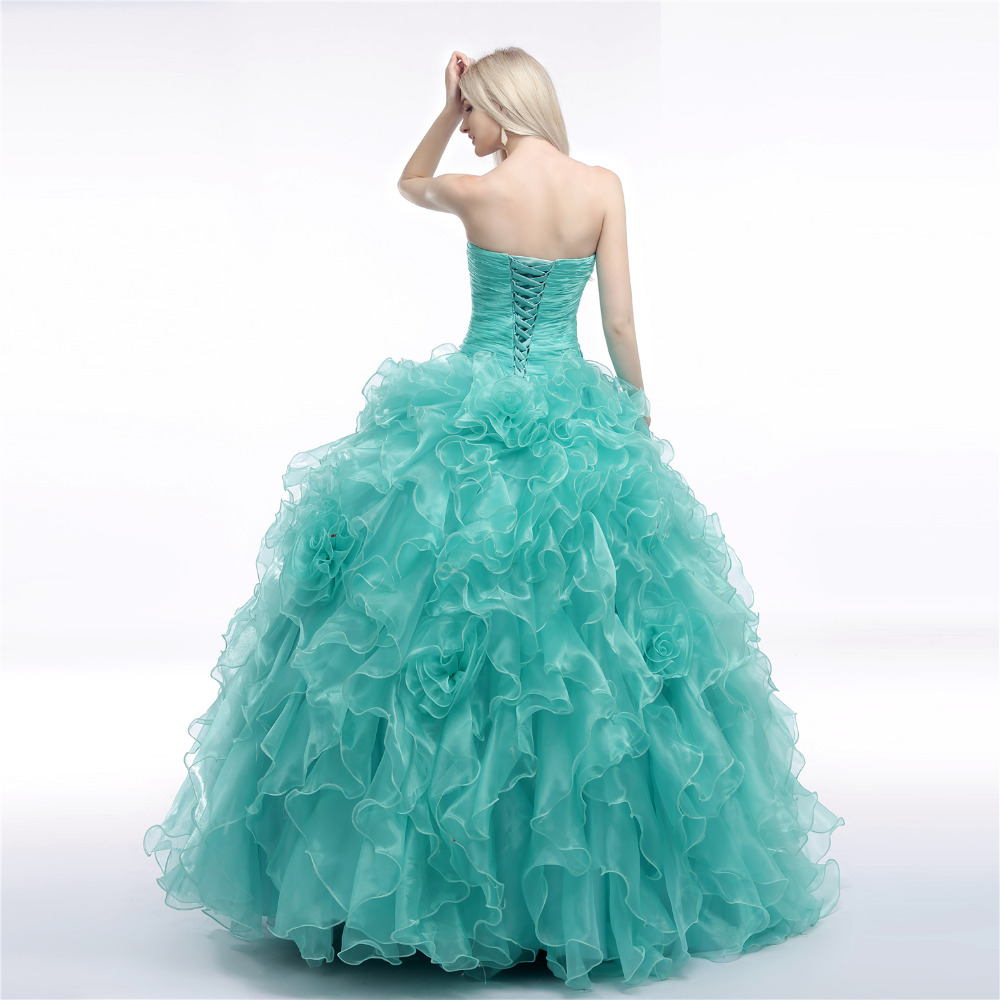 GSBRIDAL Light Blue Sweetheart Ruffles Back Lace Up Ball Gown