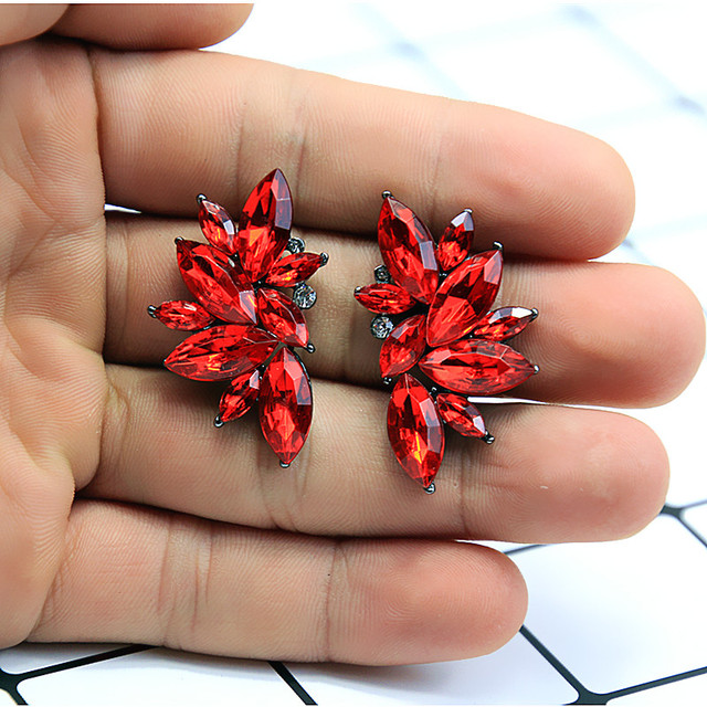 2018 New Women's Fashion Crystal  Earrings Rhinestone RED / Pink Glass Black Resin  Metal Leaf Ear Earrings For Girl e0139