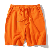 Summer Casual Shorts Men Orange Blue Fitness Mens