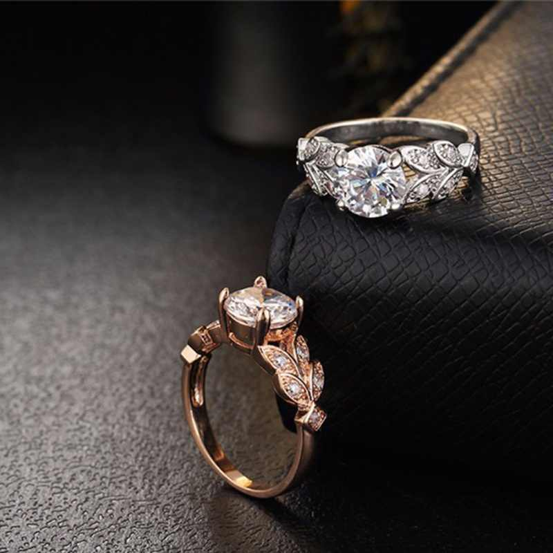 Feuilles bague de mariage pour femme 2018 nouvelle forme de feuille bague de mariage classique diamant bague de fiançailles femme amour bijoux 2 couleurs