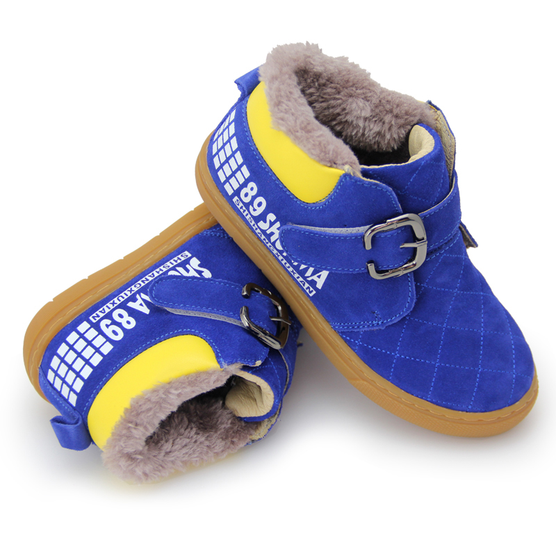 2018 New Arrival Winter Kids Snow Boots Child Winter Martin Ankle Winter Boots Add Plush Cow suede Leather Shoes for kids bbk ise 1802 фиолетовый