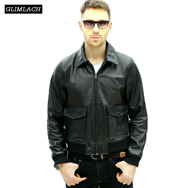Fashion Black 100% Cowskin Aviation Genuine Leather Flight Jacket Men Brand Luxury Slim Pilot Bomber Jacket Winter Leather Coats