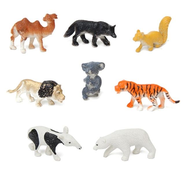 8pcs Set Plastic Zoo Animal Figure Tiger Lion Kids Toy Mini Wild