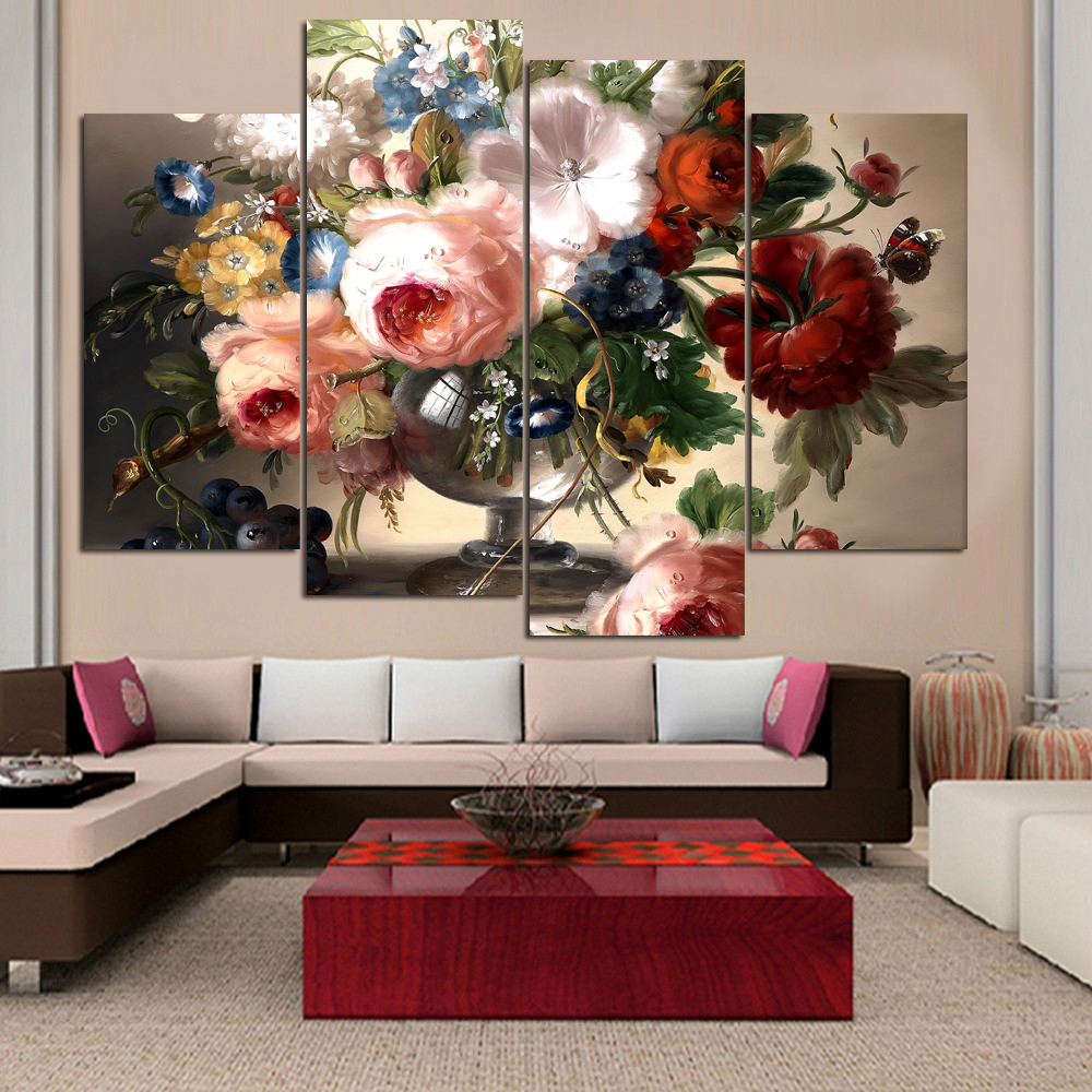 Fleur Pour Decoration Salon us $15.36 40% off|4 the canvas oil painting flower painting hd modern house  decoration wall poster canvas print pictures in the living room