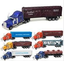 Модель автомобиля из сплава в масштабе 1:64, модели раздвижных буксирных грузовиков с высокой симуляцией, металлические Литые, детские игруш...