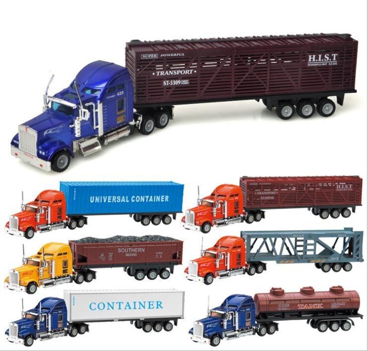 1: 64 escala modelo de carro liga, simulação de alta deslizamento modelos de caminhões de reboque, metal diecasts, brinquedo das crianças veículos, frete grátis
