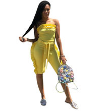 1b6111e4c329 Ruffles Sashes Strapless Yellow Summer women Overalls Jumpsuits Outfits  playsuits casual sexy fashion Bandage rompers D8158