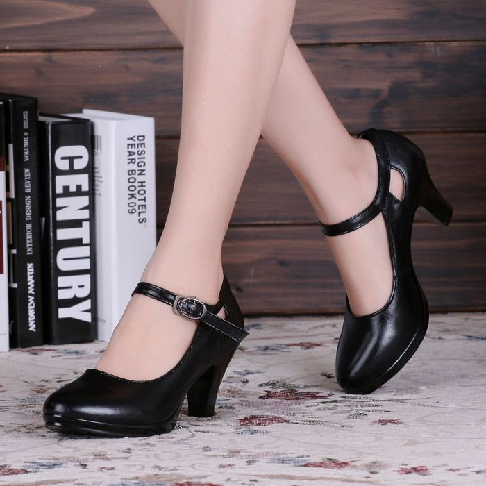 Black Friday 20 Off 35 40size Black High Heeled Square Heel Woman OL Shoes With Round