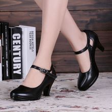 Black Friday 20% Off 35-40size Black High-Heeled Square Heel Woman OL  Shoes With  Round  Toe  Thick Straps Pumps Sandals Shoes