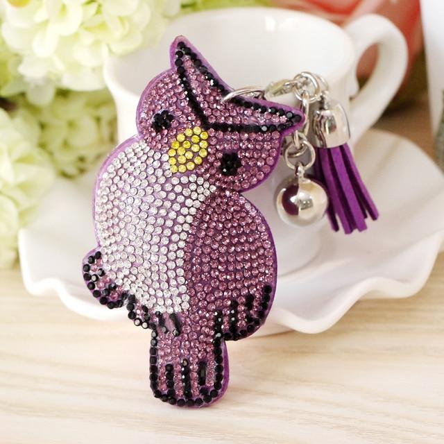 Handmade Owl Shape Keychains Da Hợp Kim Tua Xe Keyring Animal Flower Rhinestone với Tua cho Phụ Nữ Túi Pendant Quà Tặng