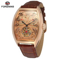 Forsining Top Luxury Brand Rose Gold Skeleton Clock Uhren Automatic Mechanical Watches Men Business Leather Watch