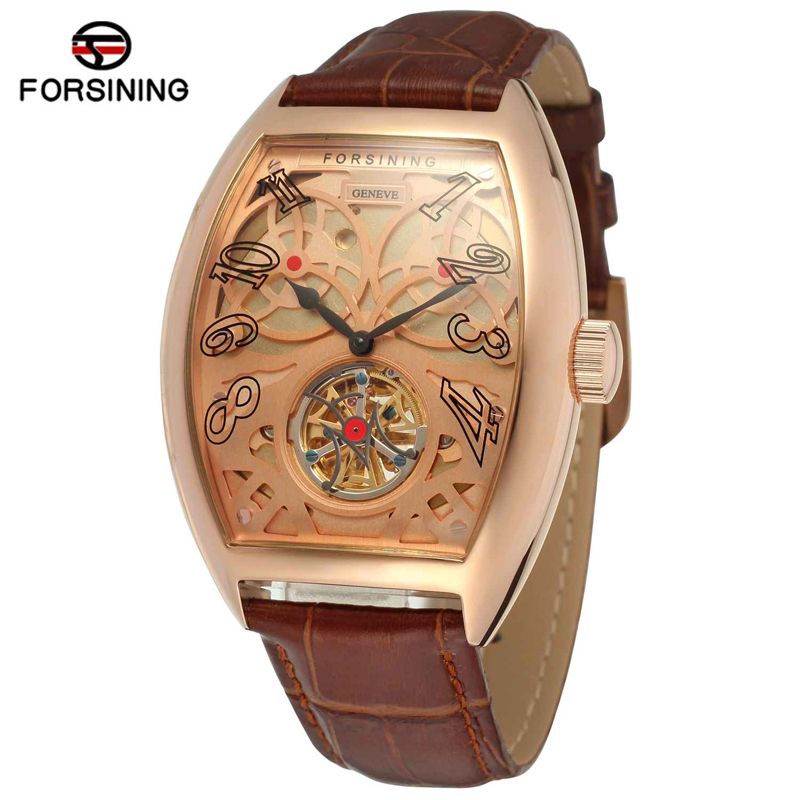 Forsining Top Luxury Brand Rose Gold Skeleton Clock Uhren Automatic Mechanical Watches Men Business Leather Watch Orologio Uomo forsining tourbillon designer month day date display men watch luxury brand automatic men big face watches gold watch men clock