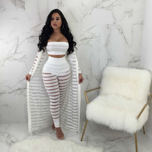 MUXU white sexy transparent cropped 3 piece set women top and pants clothing