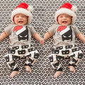 2016 Nova Chegada Do Bebê Recém-nascido Menino Meninas Roupas definir Natal Batman T-shirt Tops + Pants 2 pcs roupa do bebê Outfits