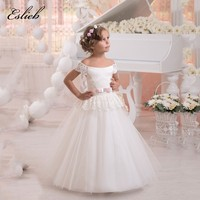 Stunning Tulle Ball Gown Holy Communion Dresses Lace Up Shoulderless Flower Girl Dresses For Wedding With