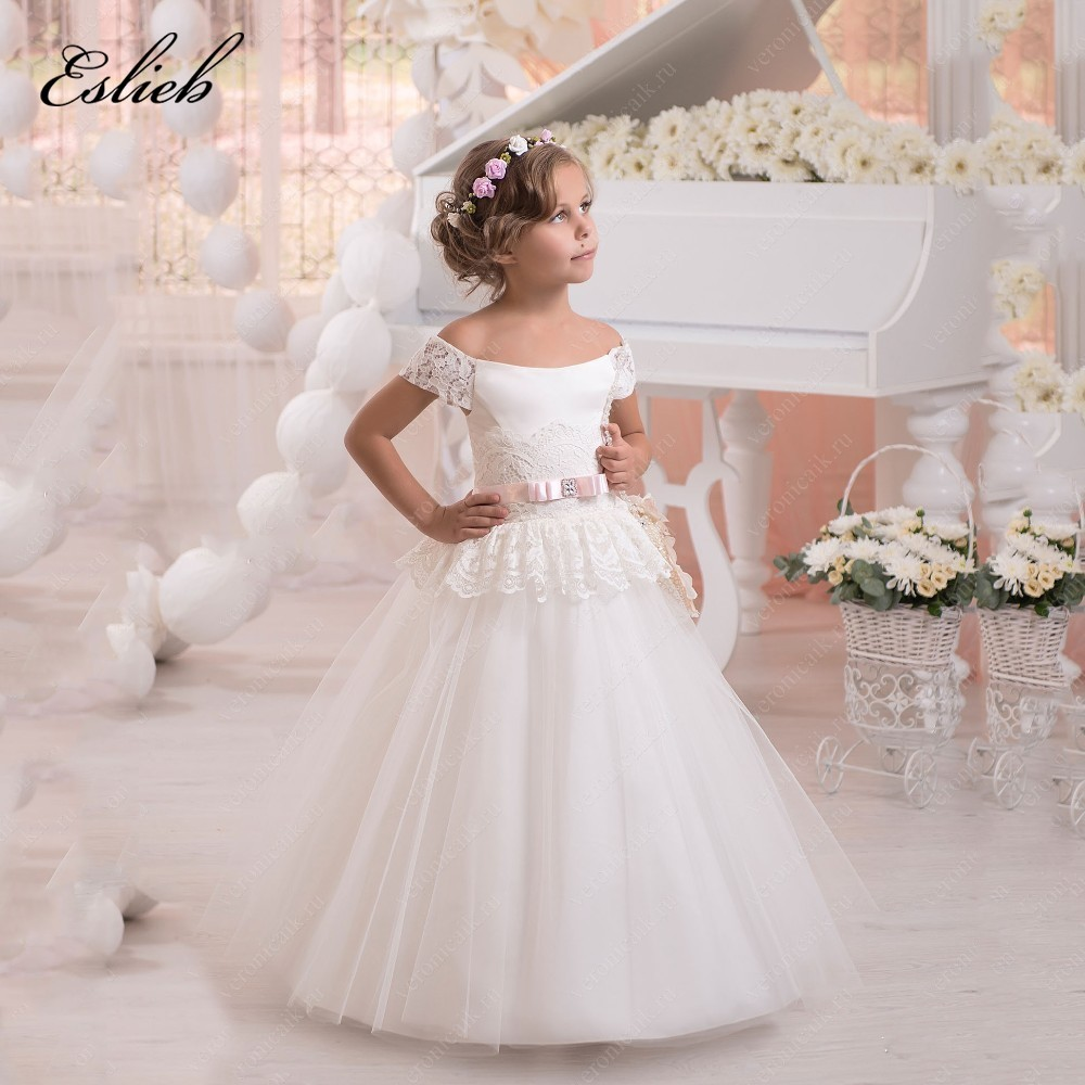 Stunning Tulle Ball Gown Holy Communion   Dresses   Lace Up Shoulderless   Flower     Girl     Dresses   for Wedding With Pink Belt 2-14 Year
