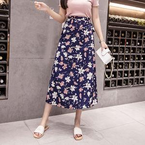 Image 5 - Jupe dété en mousseline de soie imprimée de fleurs, style Empire coréen Harajuku, Vintage, mignon, taille haute, avec nœud mi mollet, collection décontracté