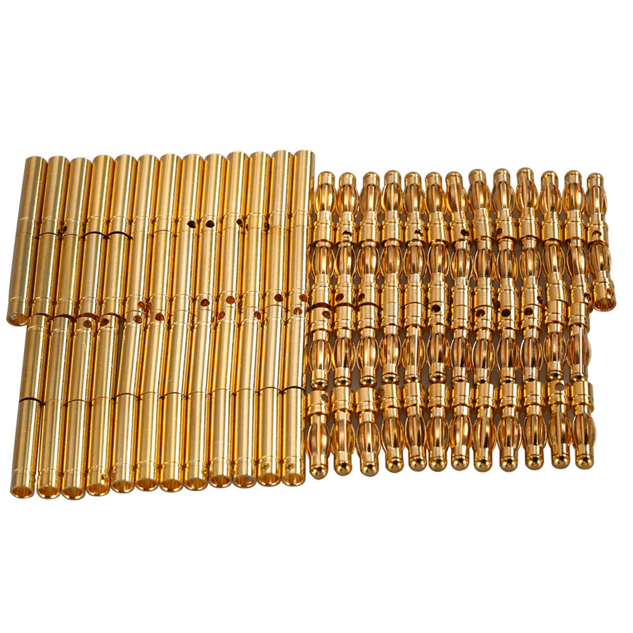20 pair lot brushless motor high quality banana plug 3 0mm 3mm gold bullet connector plated for esc battery 4.0mm 4mm RC Battery Gold-plated Bullet Connector Banana Plug 50 Sets