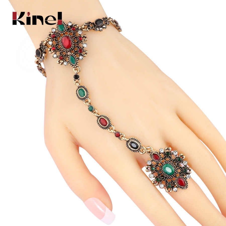 Kinel Unique Bracelet link Ring Turkish Jewelry Set For Women Antique Gold Crystal Flower Vintage Wedding Jewelry 2017 New