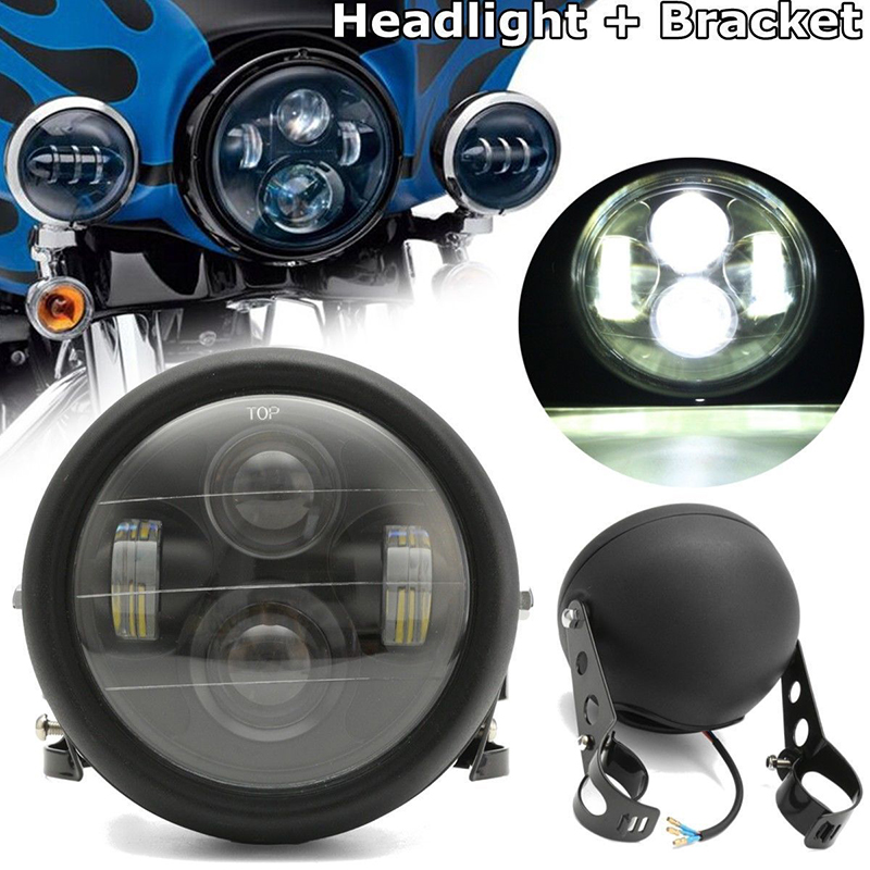2018 New Motos Accessories 6.5 Motorcycle LED Projector Headlight Lamp+Bracket For Harley Motorcycle Universal