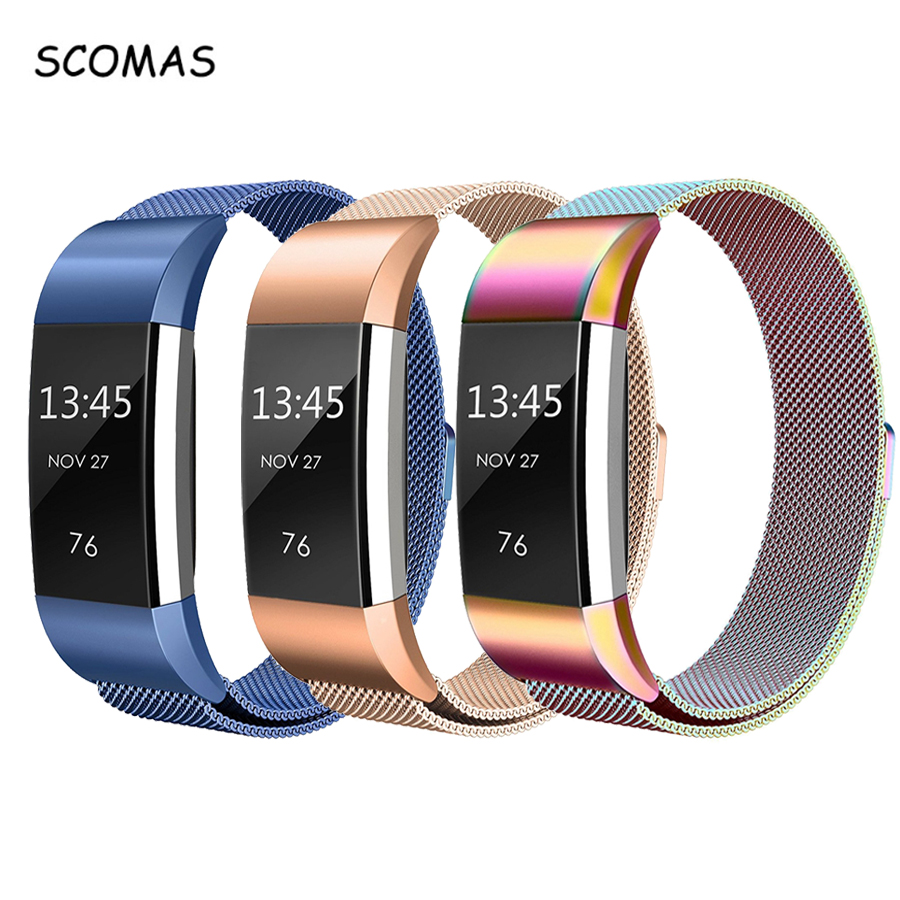 все цены на SCOMAS Magnetic Milanese stainless steel strap for Fitbit Charge 2 band for charge 2 smart wristband bracelet strap charge2