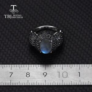 Image 4 - Klassische frauen Edelstein RING 925 Sterling silber edlen schmuck natürliche Blau Labradorit mondstein feine schmuck von tbj
