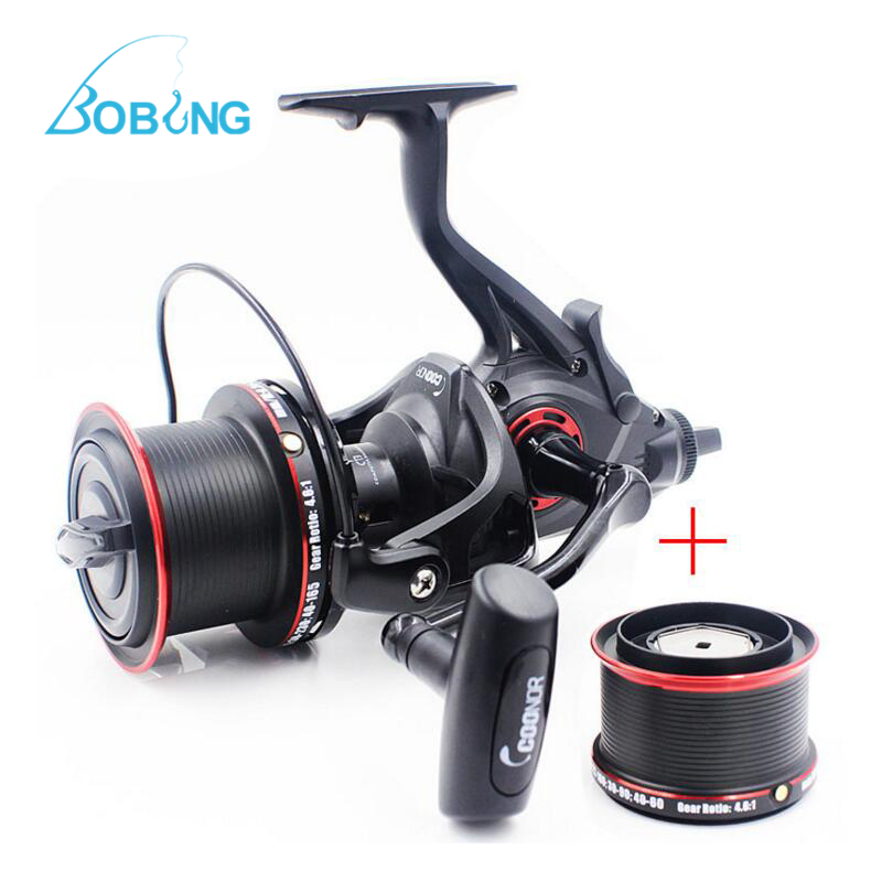 Bobing COONOR NFR9000 + 8000 12+1BB 4.6:1 Full Metal Spinning Fishing Reel with Double Spool Folding Handle for Fishing Pesca coonor j12 9 1bb metal spool fishing reel 5 1 1 gear ratio spinning reel full metal spool with double t shape handles