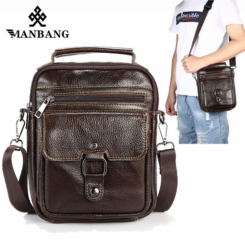 ManBang New Genuine Leather Men Crossbody Bags Small Flap Messenger Bag Vintage Casual Bag Men's Shoulder Briefcase Waist bags водонагреватель timberk aqua jet swh se1 30 vu 2квт 30л электрический настенный белый