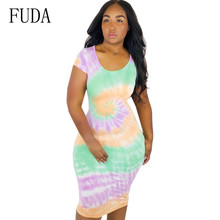 FUDA New Women Summer Sexy O Neck Short Sleeve Dress Casual Bandage Bodycon Vintage Party Slim Skinny Lady Chothing