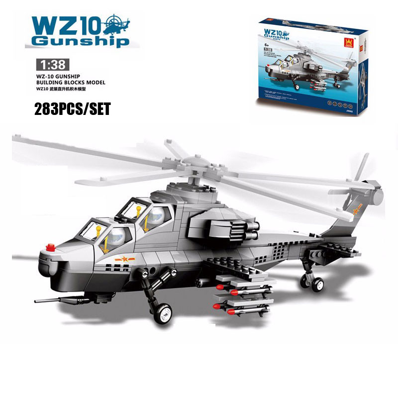 wange f 15 eagle fighter plane building blocks kit military army set models 283PCS/SET Classic Military WZ10 Gunship Double Seats Fighter Aircraft Model Building Blocks Bricks Toy Compatible With Wange