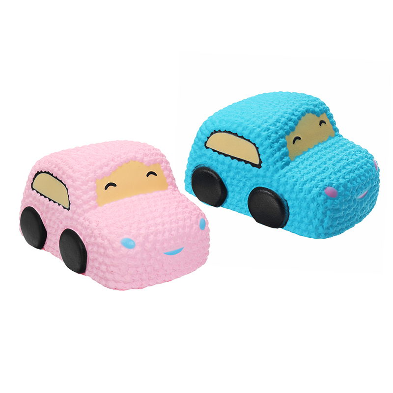 Car Racer Cake Soft Slow Rising Toy Scented Bread 12cm Pink Blue Color Relief Stress Toy For Kids Children