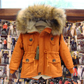 2-9 T muchachos de las muchachas abrigos y chaquetas 2017 del invierno del otoño niños Coreanos EE.UU. bandera de la capa encapuchada gruesa de algodón caliente niños niñas abrigo de invierno
