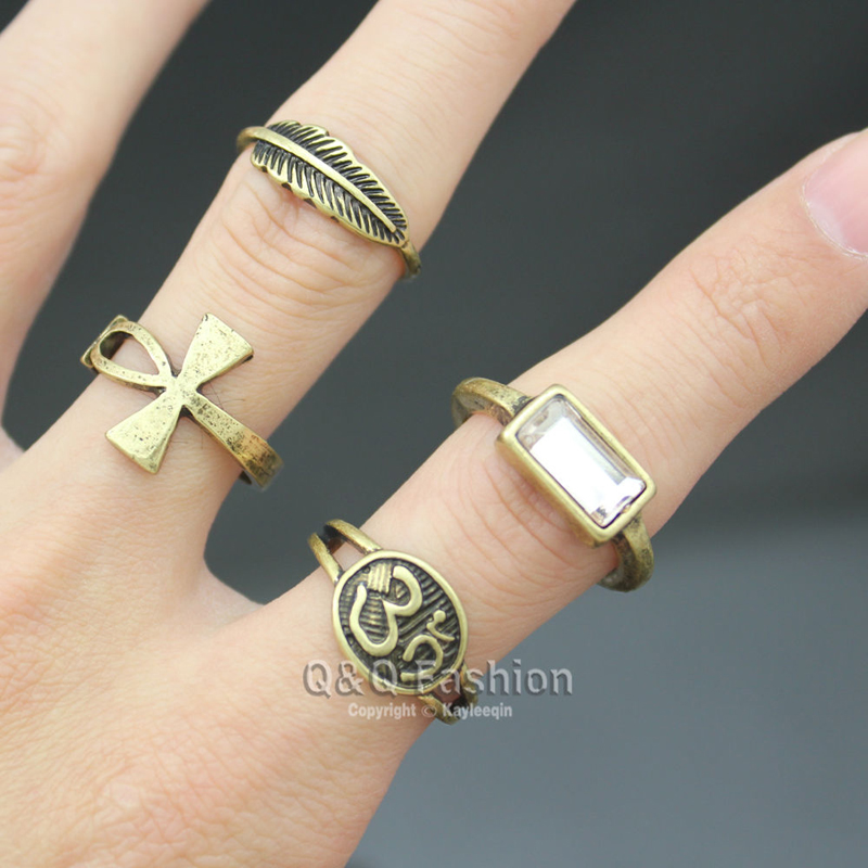 pack of 4 egyptian ankh cross key life hindu indian om ohm aum feather leaf ring w8 jewelry 2017 new - Egyptian Wedding Rings