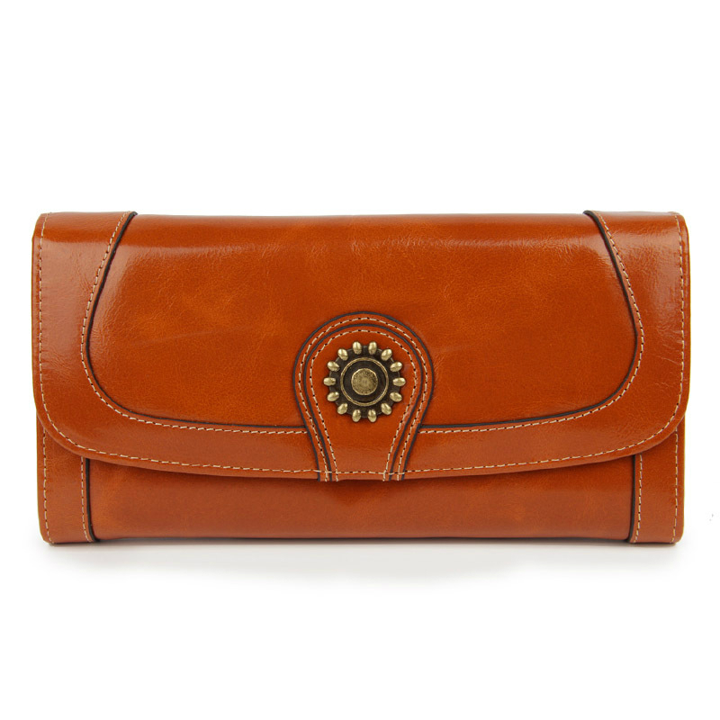 Hot Sale 100% Genuine Leather Vintage Women Hasp Wallet Sunflower Pattern Design High Quality Cowhide Large Space Card Purse guapabien casual bear pattern hasp design large storage wallet for women