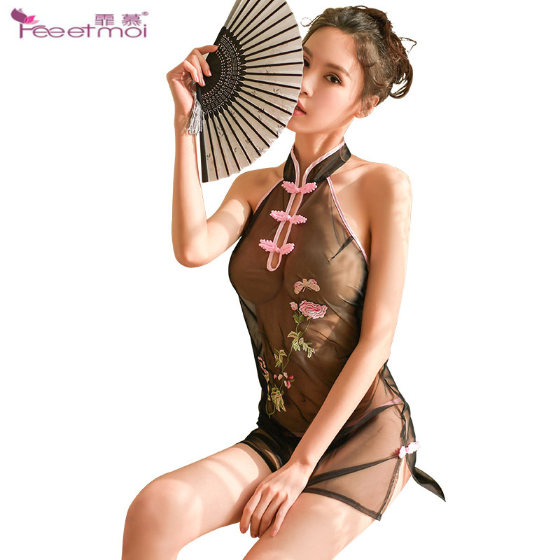 Embroidered Transparent Erotic Lingerie Women Dress Stand Collar Dessous Sexy Hot Erotic Backless Straps Sexy Erotic Underwear