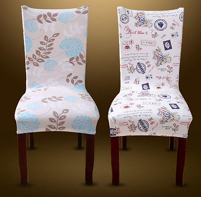 2017 New Style Spandex Removable Elastic Stretch Slipcovers Floral Print Short Dining Room Chair Seat Cover Decor Home Textile In From