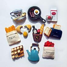 Thuis Koelkast Stickers Creatieve Leuke Voedsel Vorm Magnetische Brood Melk Bacon Gebakken Ei Pan Hars Koelkast Stickers