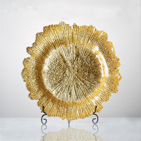 1pc Charger Plates Gold Glass Dinner Plate Round Dessert Dishes Plate Chargers Table Service Dishes Set for Wedding Party Decor