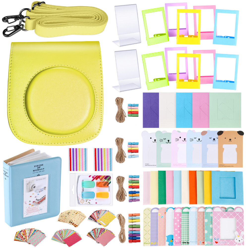 Neewer 56-in-1 Accessory Kit for Fujifilm Instax Mini 70 (Yellow): Camera Case Adjustable Strap+Frames+Book Album+Color Filters fujifilm instax mini 8 yellow