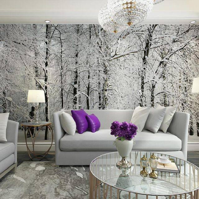 Home Decor Wall Papers Snow Birch Tree Forest Photo Wallpaper Mural