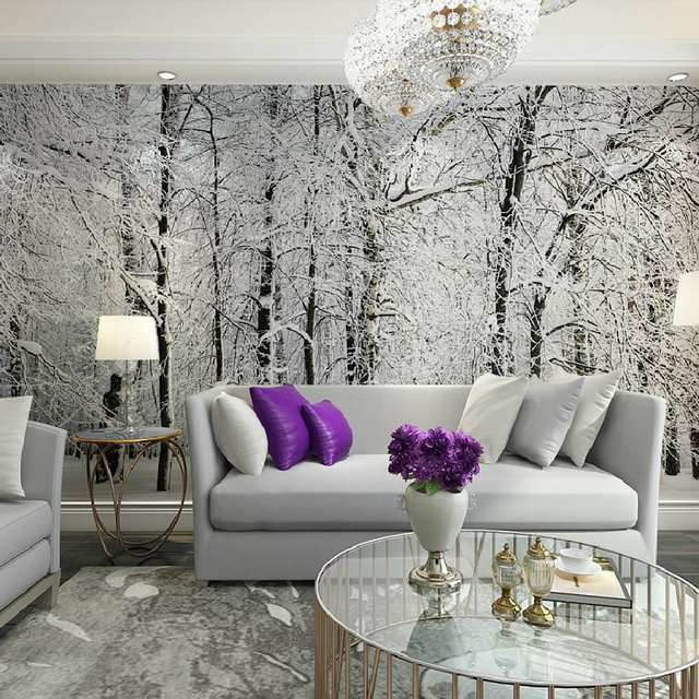Living Room Tree Decorating Ideas For Long Rooms Online Shop Home Decor Wall Papers Snow Birch Forest Photo Wallpaper Mural 3d Bedroom Self Adhesive Vinyl Silk Aliexpress
