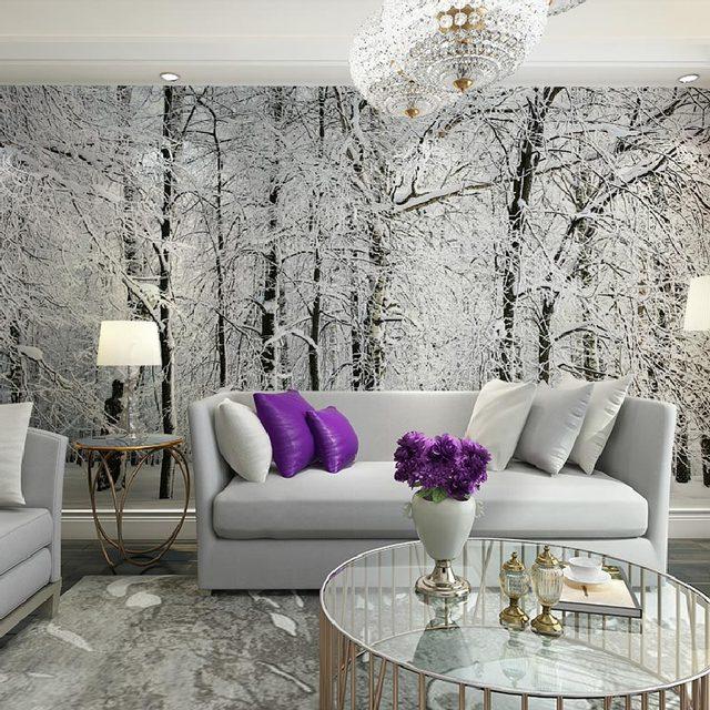 Home Decor Tapety Sniegu Brzoza Drzewa Las Fototapeta Mural 3d Salon