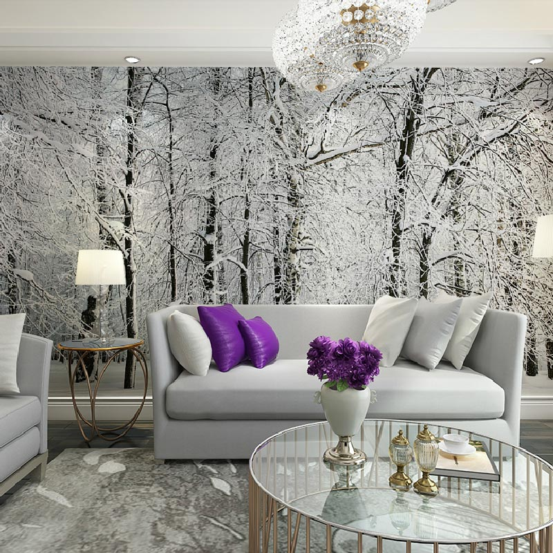 living room wall murals large wall murals papel de parede snow birch trees forest 12706