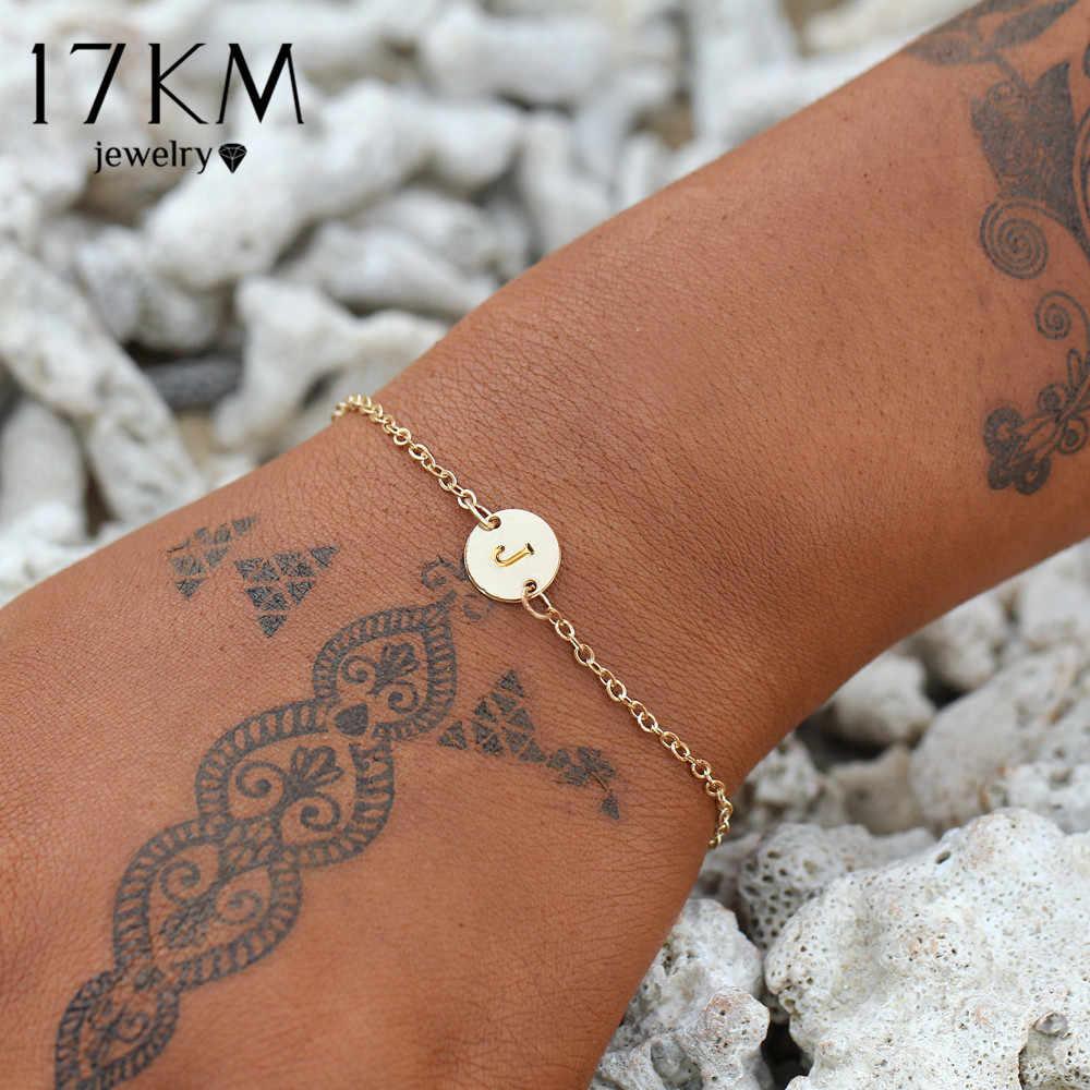 17KM moda złoty kolor list bransoletka i bransoletka dla kobiet proste regulowane nazwa bransoletki Pulseras Mujer biżuteria Party prezenty