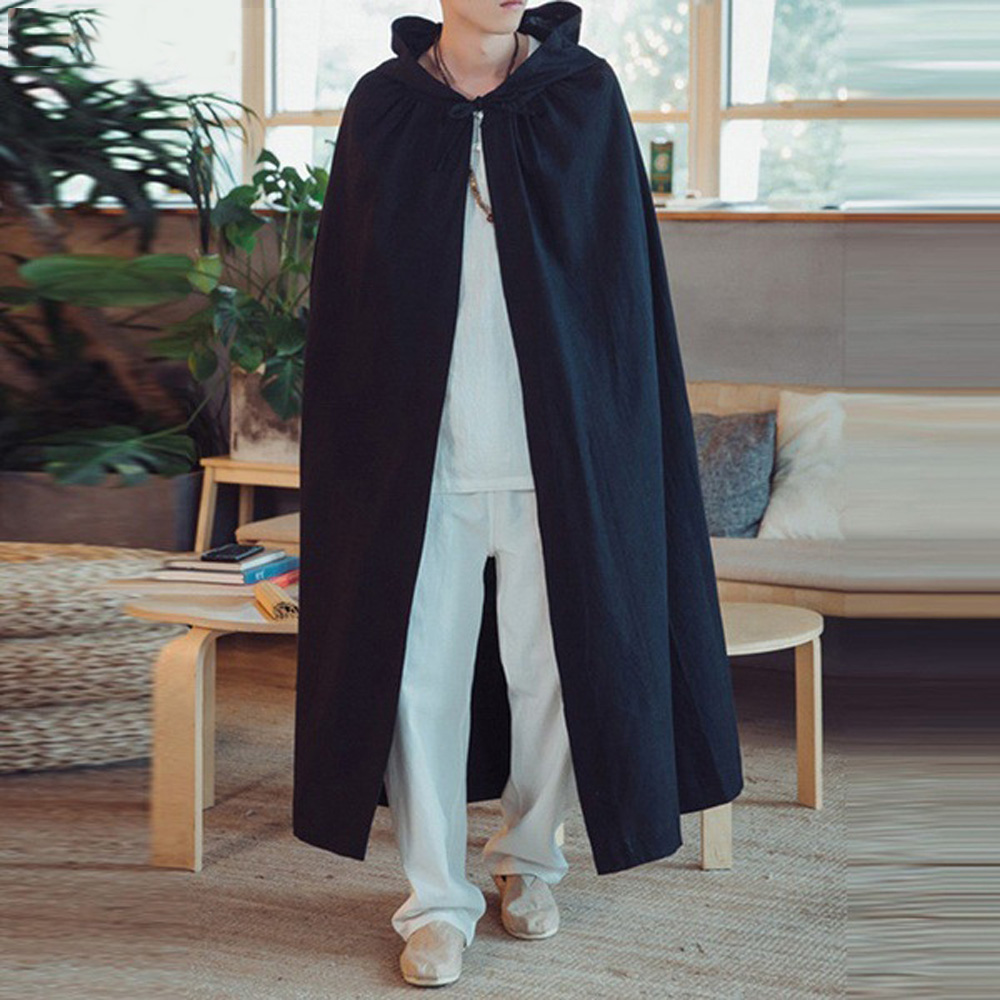 2019 New Arrival Men's Vintage Cloaks Capes Casual Loose Chinese Style Pure Color Korean Silk Cloaks